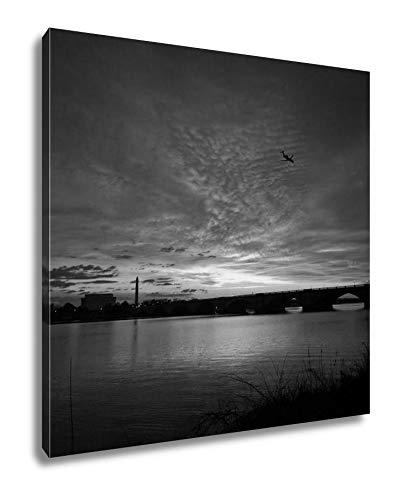 Ashley Canvas Sunrise Over The Potomac River in Washington Dc, Wall Art Home Decor, Black and White, 32x32