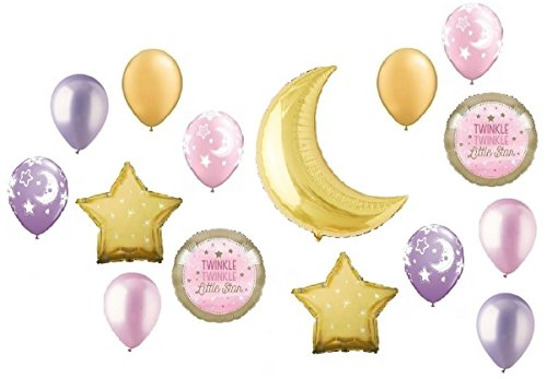 Twinkle Twinkle Little Star Gold Crescent Moon Girl Pink Baby Shower Balloon Bouquet Decorating Kit 15 Piece Mylar and Latex Balloons Set -Plus (1) 66' (66 Foot) Roll of Curling Balloon Ribbon ()