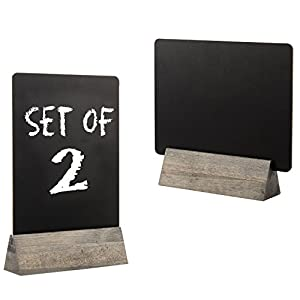 Set of 2 Tabletop Double Sided Chalkboard Display Sign/Placeholder with Wooden Base Stand, Gray