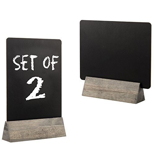 Set of 2 Tabletop Double Sided Chalkboard Display Sign/Placeholder with Wooden Base Stand, Gray by MyGift