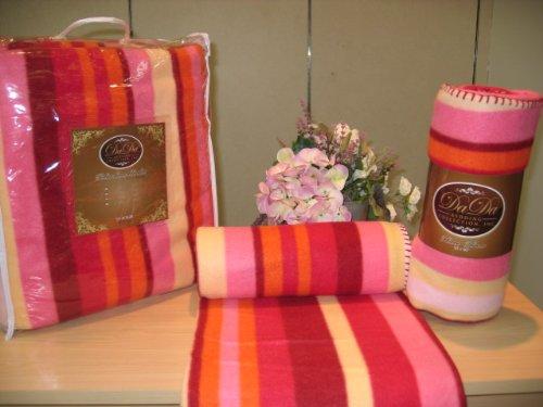 (DaDa Bedding BL6116061 Striped Polar Fleece Blanket, Full, Red and Orange)