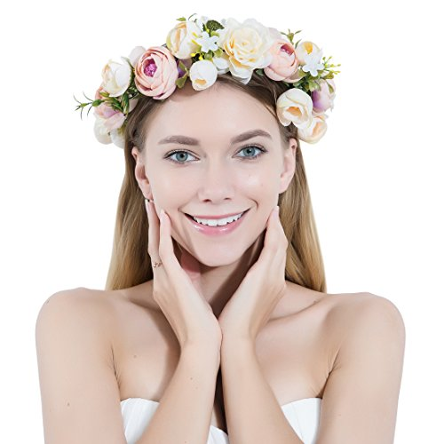 Women Flower Wreath Crown Floral Wedding Garland Headband Handmade Bridal Hair Accessories