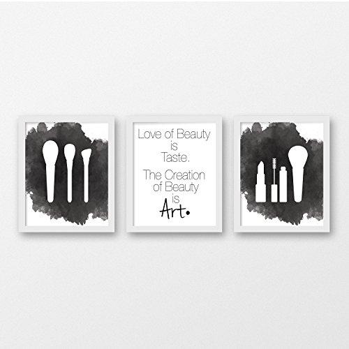 Beauty Watercolor Art Print Set of 3 - Beauty Salon Decor -