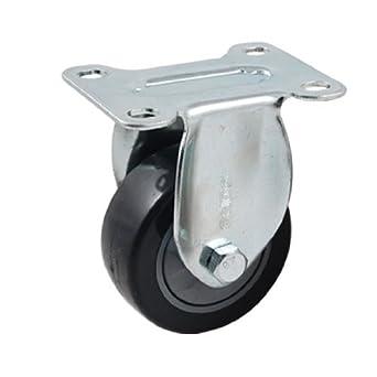 DealMux 3-Inch metal placa lisa única roda fixa rígida Trolley Caster, Preto