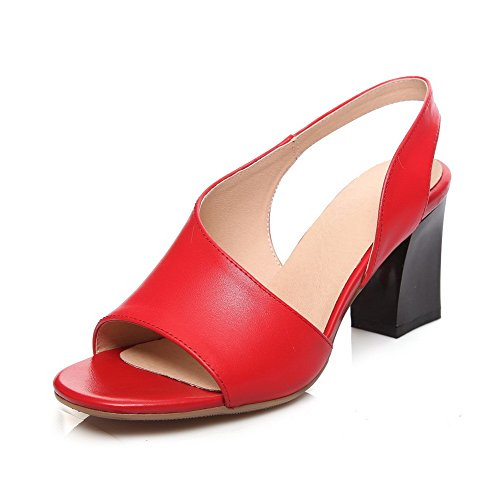 AmoonyFashion Womens Solid Cow Leather High-Heels Open Toe Pull-on Sandals Red caZD4