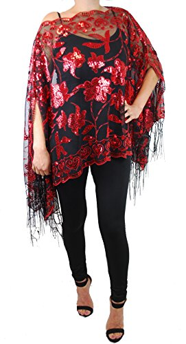 (Women's Mother of the Bride 2-Way Wear Beaded Fashion Shawl Tunic Poncho Cover up Top)