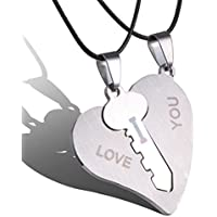 1 Pair I Love You Lock Key Heart Stainless Steel Pendant for Couple Necklace WelcomeShop