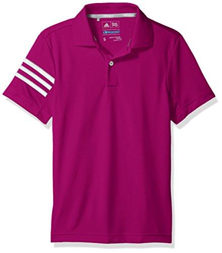 (adidas Golf Boys Climacool 3 Stripes Polo Shirt, Ultra Beauty, Medium)
