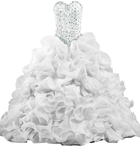 Long White Quinceanera ANTS Dress Formal Women's Party Ruffle Crystal wZxPSf0q