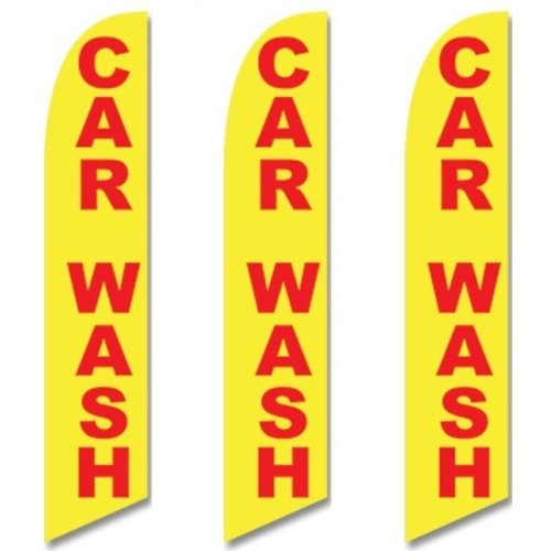 Three (3) Pack Full Sleeve Swooper Flags CAR WASH Yellow ...