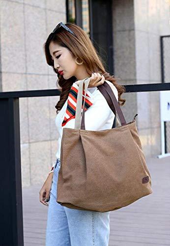 Lona Sen diseño de para niña Gris Bolso Mujer Mujer marrón Talla Wei única fei de nxaHp