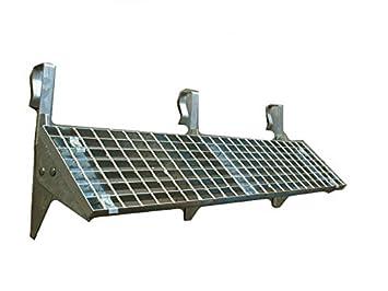 Universal Dachtritt Stahl Feuerverzinkt mit 25 cm Gitterrost mit 42 bis 200 cm L/änge 60 cm - 2 St/ützen
