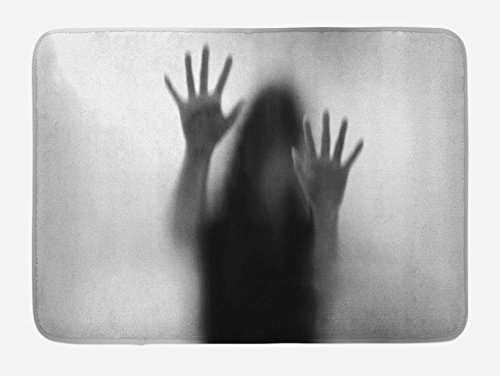 Lunarable Horror House Bath Mat, Silhouette of Woman behind the Veil Scared to Death Obscured Paranormal Photo Print, Plush Bathroom Decor Mat with Non Slip Backing, 29.5 W X 17.5 W Inches, Gray by Lunarable