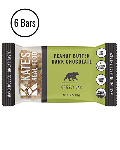 Kate's Real Food Granola Bars 6 Pack | Grizzly Bar Peanut Butter and Dark Chocolate | Clean Energy, Organic Ingredients, Gluten Free, Non GMO | All Natural Delicious Health Snack (Best Hiking Food Bars)