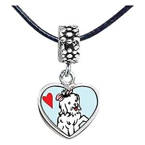 Chicforest Silver Plated Maltese Dog White Photo Flower Head Dangle Heart Charm Beads Fits Pandora Charm Bracelet
