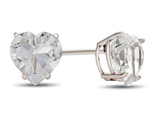 7x7mm Heart Shaped White Topaz Post-With-Friction-Back Stud Earrings (Heart Shaped Topaz)