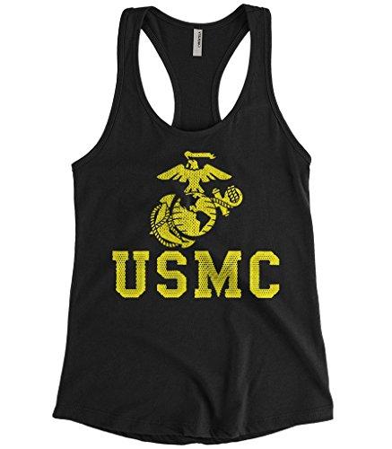 Cybertela Women's United States Marine Corps USMC Racerback Tank Top (Black, Medium) (Women Marines)
