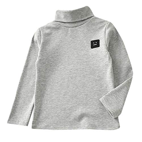 BinmerChildren Undershirt Kid Baby Girl Boy Jumper Cotton Sweatshirt Tops Shirts Casual Soft Clothes (2-3 Years, Gray)