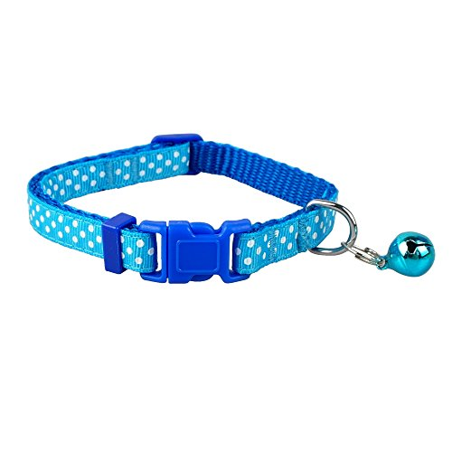 Image of Didog TM Polka Dots Nylon Small Dog Puppy Cat Collar with Cute Bell XS Neck for 8-12