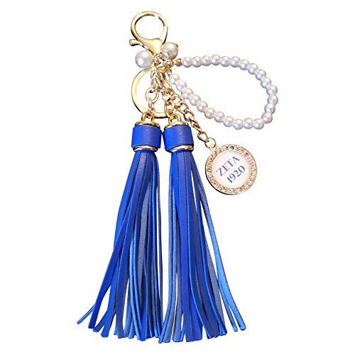 (Zeta Phi Beta Sorority Long Pearl Tassel Keychain Paraphernalia Gift)