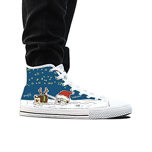 Sneakers, Custom Cartoon Santa Claus Hoge Top Canvas Schoenen Klassieke Casual Mode Kleurrijke Vrouw Wit