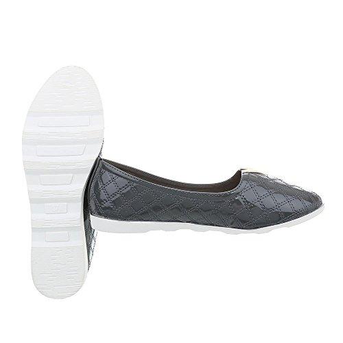 J15C Slipper Grau Halbschuhe Design Slipper Damenschuhe Ital Slipper w0pgxCq