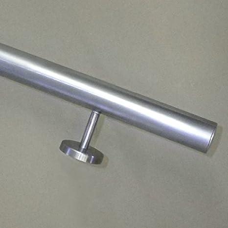 180cm 2 Edelstahl-Halter aus einem St/ück//ungeteilt Edelstahl Handlauf /Ø42,4mm mit geraden Handlaufhaltern//Br/üstung