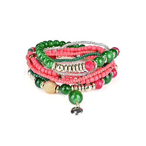 TIDOO Jewelry Woman Bohemia Style Multilayer Bracelet Beads Coin Tassel Elastic Bangle Bracelets