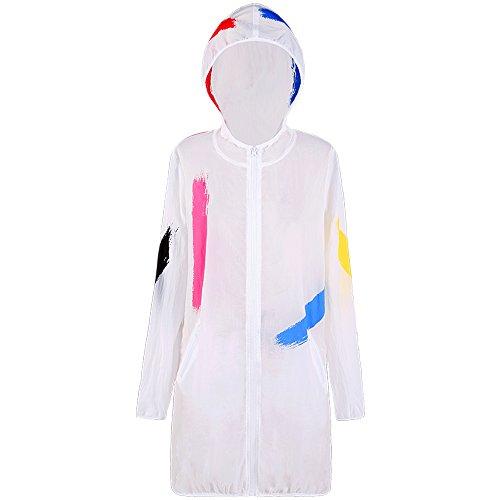 QFFL fangshaifu ファッションホワイトルーズサンプロテクションウェア/女性夏ロングセクションビーチカジュアルコート/プリントフード付きシフォンカーディガン (サイズ さいず : M)