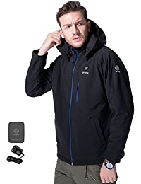 Men's Soft Shell Heated Jacket Kit With Detachable Hood and Battery Pack(Medium)