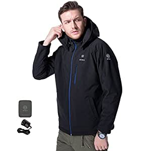 ORORO Men's Soft Shell Heated Jacket Kit with Detachable Hood and Battery Pack(Large)