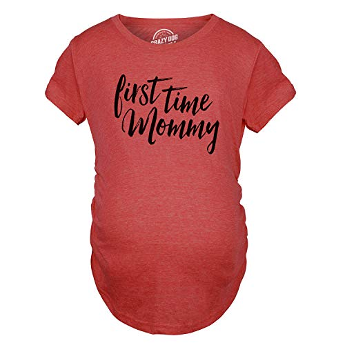 Maternity First Time Mommy Pregnancy Tshirt Cute Belly Bump Tee for Mother to Be (Heather Red) - ()
