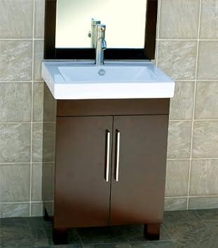 24u0026quot; Bathroom Vanity Cabinet Ceramic Top With Integrated Sink + Faucet  CM1 (combo)