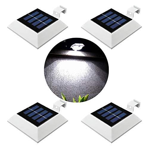 Upgrade PIR Sensor MEIHONG 4 Pack Solar Motion Sensor Security Light, Solar Powered Fence Gutter Light, Super Bright 4 LED Solar Light,Night Light, Detector Lighting for Gutter Fence Yard
