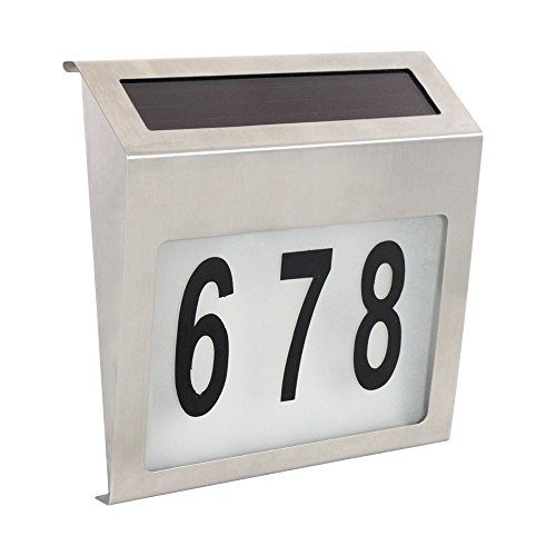 Solar Powered Stainless Steel 2 LEDs Doorplate Lamp House Number Light - 5