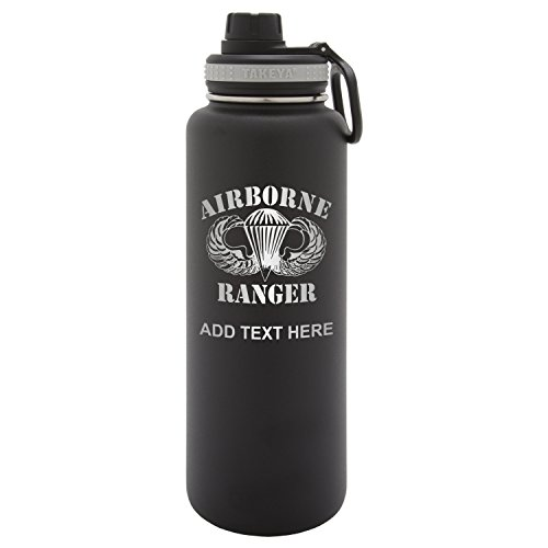 (Army Force Gear Personalized Custom Takeya Air Born Ranger Laser Engraving Thermoflask Leak Proof Insulated Stainless Steel Workout Sports Water Bottle Tumbler, 40 Oz, Black )