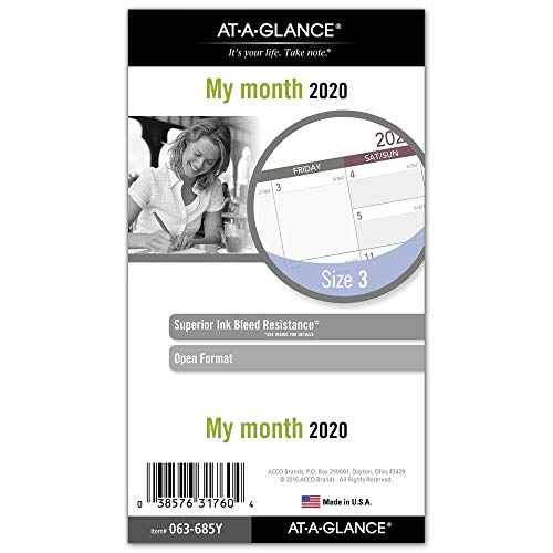- AT-A-GLANCE Monthly Planner Refill, Day Runner, 3-3/4