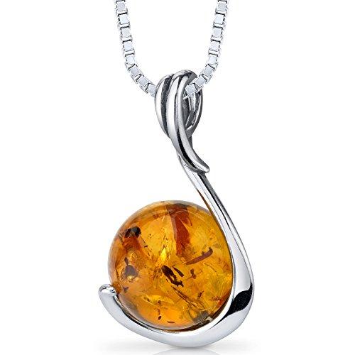 Baltic Amber Sphere Pendant Necklace Sterling Silver Cognac Color