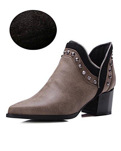 Minetom Damen Herbst Winter Nieten Stiefel Winterstiefel Stiefeletten Warm Schuhe mit Hohen Absätzen Chelsea Boots Gelb mit Plüsch