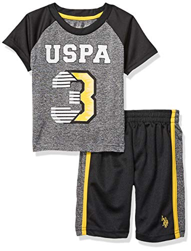 Gold Boy Shorts (U.S. Polo Assn. Boys' Toddler 2 Piece Sleeve Athletic T-Shirt and Short Set, Gold,)