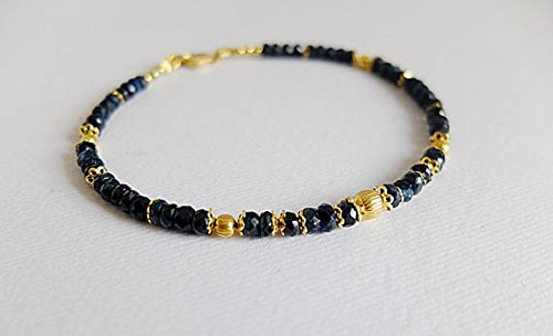 JP_Beads Deep Midnight Blue Sapphire Faceted Gemstone Bracelet with stardusted Ball spacers and Filigree caps, Gold FilledFilled Filled Silver,Dark Blue Sapphire 3/4 mm
