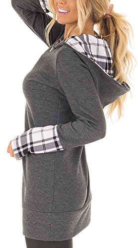 ETCYY Women's Long Sleeve Hoodie With Plaid Cuffs And Sweatshirt Hood (Hood Jumper)