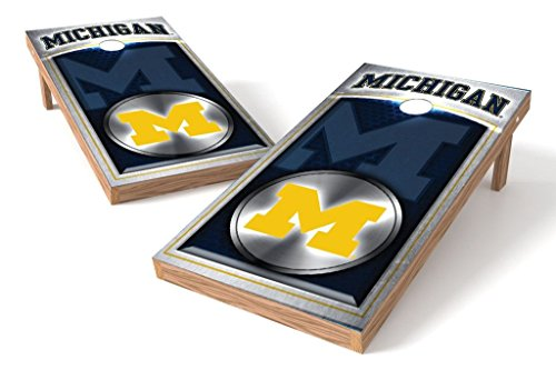 PROLINE 2'x4' NCAA College Michigan Wolverines Cornhole Set with Bluetooth Speakers - Medallion Design by PROLINE