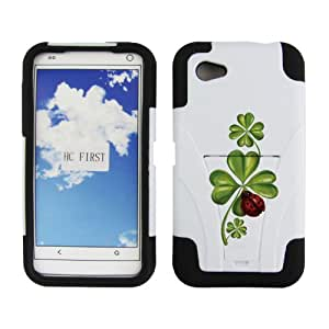 Fincibo (TM) HTC First PM33100 Hybrid Dual Layer Protector Cover Case Gel Silicone With Stand - Lucky Clover, White/ Black