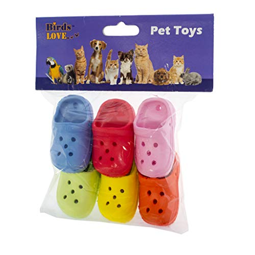 (Birds LOVE 6 Pack Mini Rubber Sandal Toys for Birds Cats Ferrets Rabbits Guinea Pigs and Small Animals)