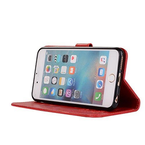 étui Téléphone red Support de Motifs Carte Fente Apple Protection pour Wallet Cuir Flip Cas 6 Relief de Hozor Fermeture Exquis magnétique iPhone avec en 6S avec PU UYwYFq