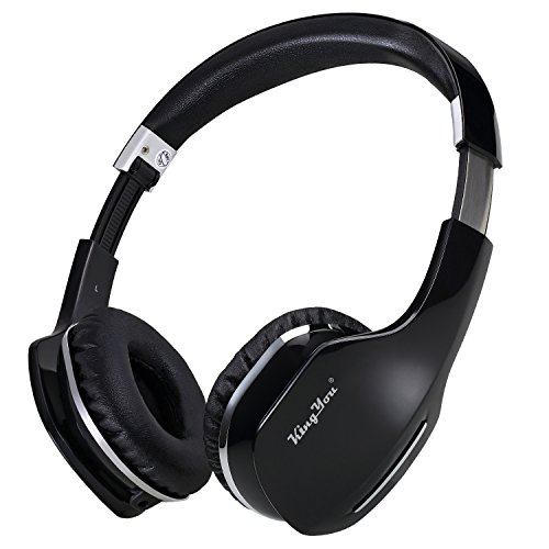 Lightweight On-Ear Headphones Bluetooth Headsets with Microphone and Volume Control Both Wired and Wireless Foldable Headphones for iPhone/TV/PC/Android KingYou HD007 Black
