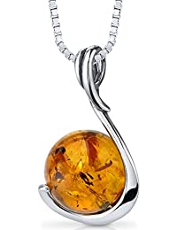 Baltic Amber Sphere Pendant Necklace Sterling Silver Cognac Color