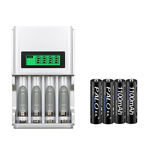 Price comparison product image PALO 4 Slots Smart Intelligent AAA AA Rechargeable Batteries Battery Charger LCD Display with 4PCS AAA 1100mAh Batteries (with 4PCS AAA Batteries)