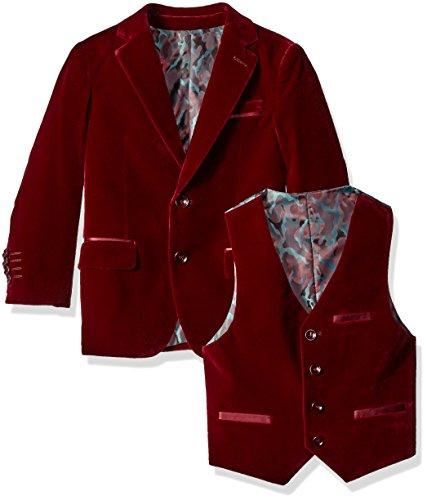 Isaac Mizrahi Boys' Little Boys' 3 Piece Velvet Suit, Burgundy, 6 by Isaac Mizrahi (Image #3)